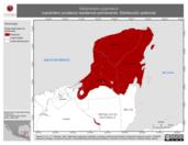 Mapa ilustrativo de Melanerpes pygmaeus (carpintero yucateco) residencia permanente. Distribución potencial.