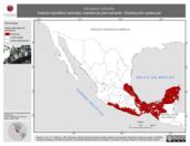 Mapa ilustrativo de Micrastur ruficollis (halcón-selvático barrado) residencia permanente. Distribución potencial.