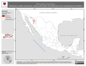 Mapa ilustrativo de Micruroides euryxanthus (Serpiente coralillo sonorense). Área de distribución potencial. La proyección citada, es exclusiva para el diseño de esta imagen.