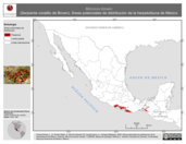Mapa ilustrativo de Micrurus browni (Serpiente coralillo de Brown). Área de distribución potencial. La proyección citada, es exclusiva para el diseño de esta imagen.