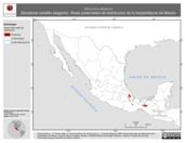 Mapa ilustrativo de Micrurus elegans (Serpiente coralillo elegante). Área de distribución potencial. La proyección citada, es exclusiva para el diseño de esta imagen.
