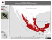 Mapa ilustrativo de Molothrus aeneus (tordo ojo rojo) invierno. Distribución potencial.