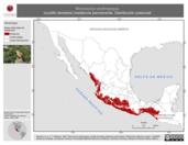 Mapa ilustrativo de Morococcyx erythropygus (cuclillo terrestre) residencia permanente. Distribución potencial.