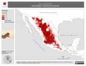 Mapa ilustrativo de Myotis ciliolabrum (Murciélago). Distribución potencial.