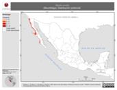 Mapa ilustrativo de Myotis evotis (Murciélago). Distribución potencial.