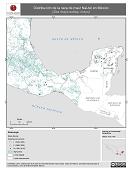 Mapa ilustrativo de Nal-tel en México. Distribución de la raza de maíz. La proyección citada, es exclusiva para el diseño de esta imagen.