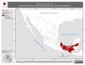 Mapa ilustrativo de Odontophorus guttatus (codorniz bolonchaco) residencia permanente. Distribución potencial.