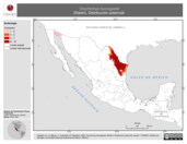 Mapa ilustrativo de Onychomys leucogaster (Ratón). Distribución potencial.