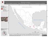 Mapa ilustrativo de Ophryacus undulatus (Vibora hastada mexicana). Área de distribución potencial. La proyección citada, es exclusiva para el diseño de esta imagen.