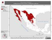 Mapa ilustrativo de Oreoscoptes montanus (cuitlacoche de chías) invierno. Distribución potencial.