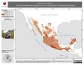 Mapa ilustrativo de Passerina versicolor (colorín morado) usando sitios con y sin clima extremo. Distribución Potencial
