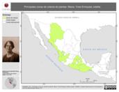 Mapa ilustrativo de Mexia, Ynes Enriqueta Julietta. La proyección citada, es exclusiva para el diseño de esta imagen.
