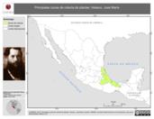 Mapa ilustrativo de Velasco, José María. La proyección citada, es exclusiva para el diseño de esta imagen.