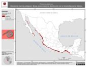 Mapa ilustrativo de Pelamis platurus (Serpiente marina pelágica). Área de distribución potencial. La proyección citada, es exclusiva para el diseño de esta imagen.