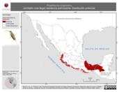 Mapa ilustrativo de Phaethornis longirostris (ermitaño cola larga) residencia permanente. Distribución potencial.