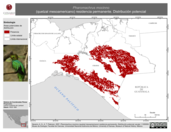 Mapa ilustrativo de Pharomachrus mocinno (quetzal mesoamericano) residencia permanente. Distribución potencial.