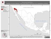 Mapa ilustrativo de Phrynosoma platyrhinos (Lagartija cornuda de desierto). Área de distribución potencial. La proyección citada, es exclusiva para el diseño de esta imagen.