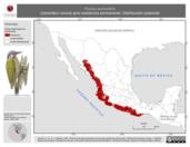 Mapa ilustrativo de Piculus auricularis (carpintero corona gris) residencia permanente. Distribución potencial.