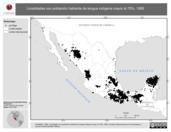 Mapa ilustrativo de Localidades con población hablante de lengua indígena mayor al 75%, 1995