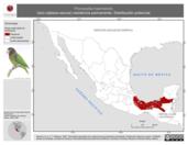 Mapa ilustrativo de Pionopsitta haematotis (loro cabeza-oscura) residencia permanente. Distribución potencial.