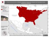 Mapa ilustrativo de Pipilo erythrophthalmus (Eastern Towhee) en época de anidación del Hemisferio Norte. Distribución potencial.