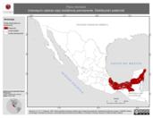 Mapa ilustrativo de Pipra mentalis (manaquín cabeza roja) residencia permanente. Distribución potencial.