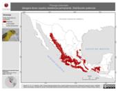 Mapa ilustrativo de Piranga bidentata (tángara dorso rayado) residencia permanente. Distribución potencial.