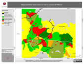 Mapa ilustrativo de Mapa temático de la zona sur de la Cuenca de México