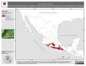 Mapa ilustrativo de Plectrohyla bistincta (Rana de árbol de pliegue mexicana). Área de distribución potencial. La proyección citada, es exclusiva para el diseño de esta imagen.