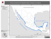 Mapa ilustrativo de Puntos de referencia de fotografías aéreas verticales de manglares