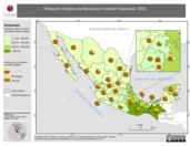 Mapa ilustrativo de Población indígena de México por Entidad Federativa, 2000. La proyección citada, es exclusiva para el diseño de esta imagen.