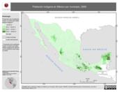 Mapa ilustrativo de Población indígena en México por municipio, 2000. La proyección citada, es exclusiva para el diseño de esta imagen.
