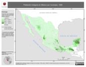Mapa ilustrativo de Población indígena en México por municipio, 1990. La proyección citada, es exclusiva para el diseño de esta imagen.