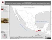 Mapa ilustrativo de Porthidium dunni (Nauyaca nariz de cerdo oxaqueña). Área de distribución potencial. La proyección citada, es exclusiva para el diseño de esta imagen.
