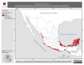 Mapa ilustrativo de Porzana flaviventer (polluela pecho-amarillo) residencia permanente. Distribución potencial.