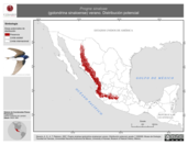 Mapa ilustrativo de Progne sinaloae (golondrina sinaloense) verano. Distribución potencial.