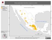 Mapa ilustrativo de Zonas potenciales tolerantes a sequía en Verano