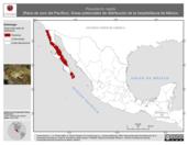 Mapa ilustrativo de Pseudacris regilla (Rana de coro del Pacífico). Área de distribución potencial. La proyección citada, es exclusiva para el diseño de esta imagen.
