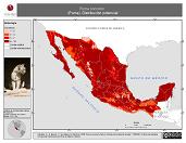 Mapa ilustrativo de Puma concolor (Puma). Distribución potencial. La proyección citada, es exclusiva para el diseño de esta imagen.