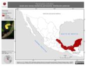 Mapa ilustrativo de Ramphastos sulfuratus (tucán pico canoa) residencia permanente. Distribución potencial.