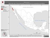 Mapa ilustrativo de Rana aurora (Rana pata roja). Área de distribución potencial. La proyección citada, es exclusiva para el diseño de esta imagen.