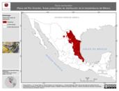 Mapa ilustrativo de Rana berlandieri (Rana del Río Grande). Área de distribución potencial. La proyección citada, es exclusiva para el diseño de esta imagen.