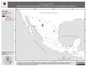Mapa ilustrativo de Rana catesbeiana (Rana toro). Área de distribución potencial. La proyección citada, es exclusiva para el diseño de esta imagen.
