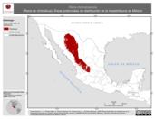 Mapa ilustrativo de Rana chiricahuensis (Rana de chiricahua). Área de distribución potencial. La proyección citada, es exclusiva para el diseño de esta imagen.