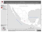 Mapa ilustrativo de Rana dunni (Rana de Pátzcuaro). Área de distribución potencial. La proyección citada, es exclusiva para el diseño de esta imagen.