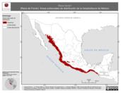 Mapa ilustrativo de Rana forreri (Rana de Forrer). Área de distribución potencial. La proyección citada, es exclusiva para el diseño de esta imagen.