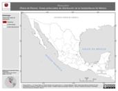 Mapa ilustrativo de Rana johni (Rana de Moore). Área de distribución potencial. La proyección citada, es exclusiva para el diseño de esta imagen.