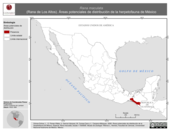 Mapa ilustrativo de Rana maculata (Rana de Los Altos). Área de distribución potencial. La proyección citada, es exclusiva para el diseño de esta imagen.