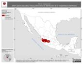 Mapa ilustrativo de Rana megapoda (Rana pierna de pollo). Área de distribución potencial. La proyección citada, es exclusiva para el diseño de esta imagen.