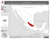 Mapa ilustrativo de Rana montezumae (Rana de Moctezuma). Área de distribución potencial. La proyección citada, es exclusiva para el diseño de esta imagen.